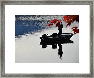 Reflections On Fishing Framed Print