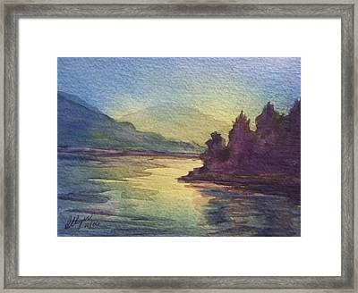 Framed Print featuring the painting Reflections On North South Lake by Ellen Levinson