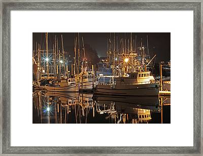 Reflections On The Bay Framed Print by Kim Mobley