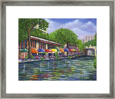 Reflections On The Riverwalk Framed Print by Kerri Meehan