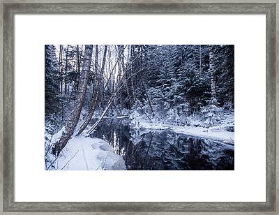Reflections On Wintry River Framed Print by Teemu Tretjakov
