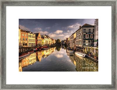 Reflections Over Ghent Framed Print by Rob Hawkins