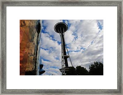 Reflections Space Needle  Framed Print by Robert  Moss