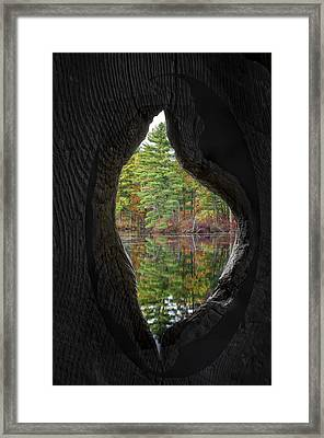Reflections Through The Hole Framed Print by Donna Doherty
