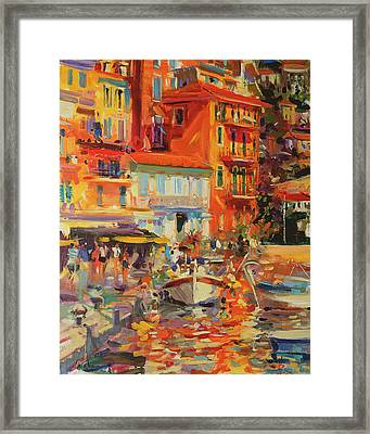 Reflections - Villefranche Framed Print by Peter Graham