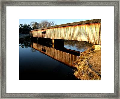 Framed Print featuring the photograph Reflections  Watson Mill Bridge by George Bostian