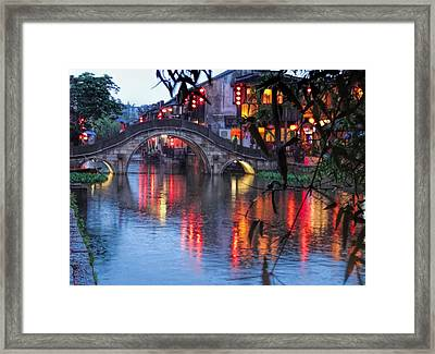 Reflections Xitang Evening Framed Print