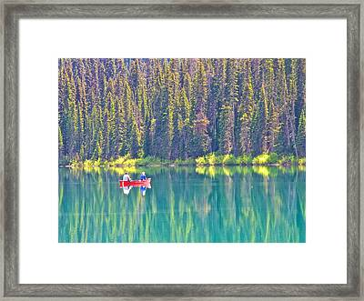 Reflective Fishing On Emerald Lake In Yoho National Park-british Columbia-canada  Framed Print