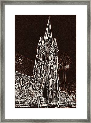 Reformed Church In Nice At Nigth Framed Print by Lali Kacharava