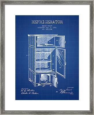 Refrigerator Patent From 1901 - Blueprint Framed Print