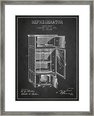 Refrigerator Patent From 1901 - Dark Framed Print
