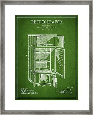 Refrigerator Patent From 1901 - Green Framed Print