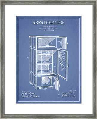 Refrigerator Patent From 1901 - Light Blue Framed Print