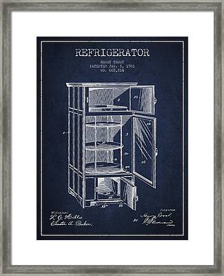 Refrigerator Patent From 1901 - Navy Blue Framed Print