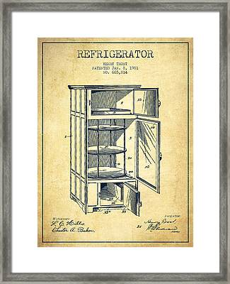 Refrigerator Patent From 1901 - Vintage Framed Print