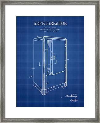 Refrigerator Patent From 1942 - Blueprint Framed Print