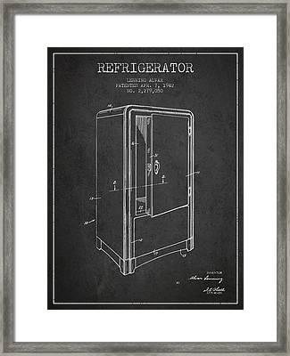 Refrigerator Patent From 1942 - Dark Framed Print