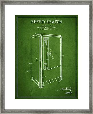 Refrigerator Patent From 1942 - Green Framed Print