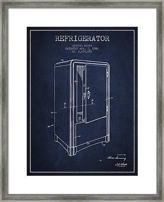 Refrigerator Patent From 1942 - Navy Blue Framed Print