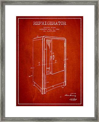 Refrigerator Patent From 1942 - Red Framed Print