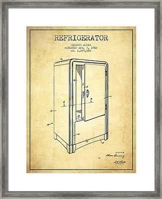 Refrigerator Patent From 1942 - Vintage Framed Print