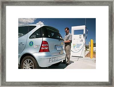 Refuelling Hydrogen Car Framed Print