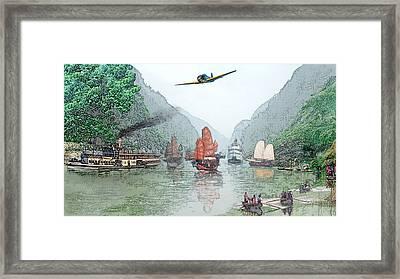 Refugees On The Yangtze Framed Print