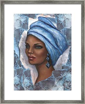 Framed Print featuring the mixed media Regal Lady In Blue by Alga Washington