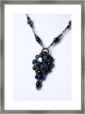Regal Sapphire Pendant Necklace And Matching Earrings Set Framed Print by WDM Gallery