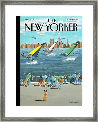 Reggata On The Hudson Framed Print by Bruce McCall