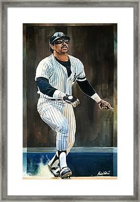 Reggie Jackson New York Yankees Framed Print by Michael  Pattison