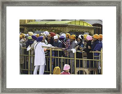 Regulating The Queue Of Devotees Inside The Golden Temple In Amritsar Framed Print by Ashish Agarwal