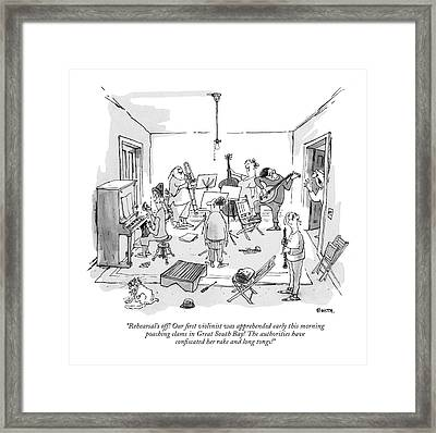 Rehearsal's Off! Our ?rst Violinist Framed Print