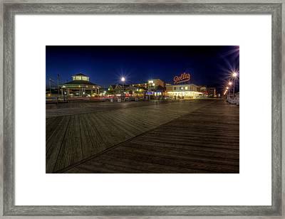 Rehoboth Beach Boardwalk At Night Framed Print
