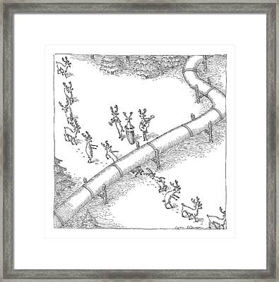 Reindeer In A Conga Line Do The Limbo Framed Print