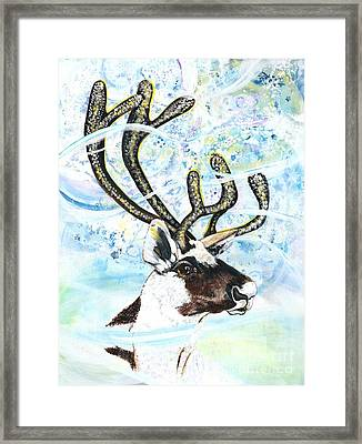 Reindeer - Winter Snow Storm Framed Print by M E Wood