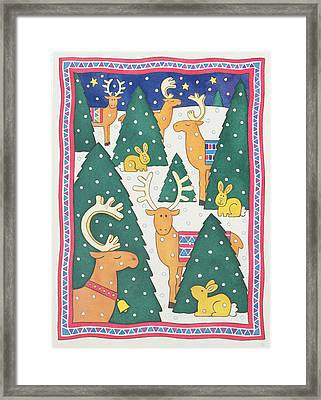 Reindeers Around The Christmas Trees Framed Print by Cathy Baxter