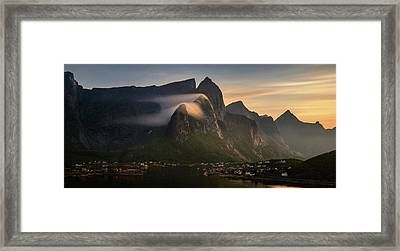 Reine Village With Mountains At Sunset Framed Print