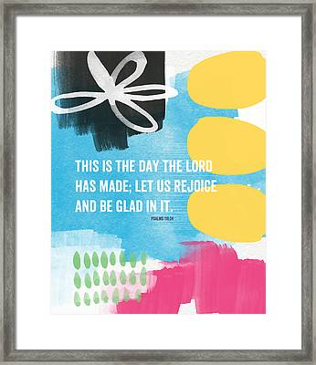 Rejoice And Be Glad- Contemporary Scripture Art Framed Print by Linda Woods