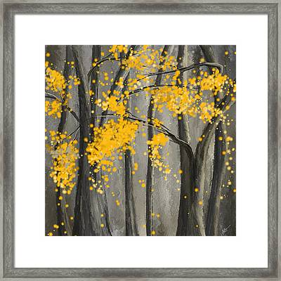 Rejuvenating Elements- Yellow And Gray Art Framed Print