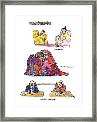 Relationships Framed Print by William Steig