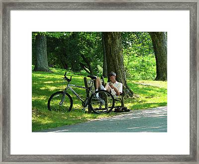 Relaxing After The Ride Framed Print by Susan Savad