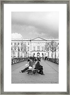 Relaxing Afternoon On The Pont Des Arts In Paris Framed Print