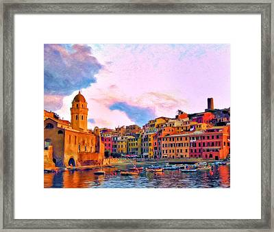 Relaxing Around Vernazza Framed Print