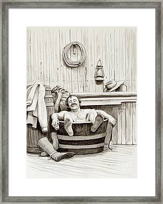 Relaxing Bath - 1890's Framed Print