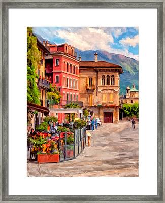 Relaxing In Baveno Framed Print by Michael Pickett