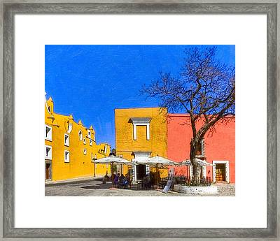 Relaxing In Colorful Puebla Framed Print
