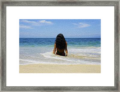 Relaxing In The Waves Framed Print by Aged Pixel