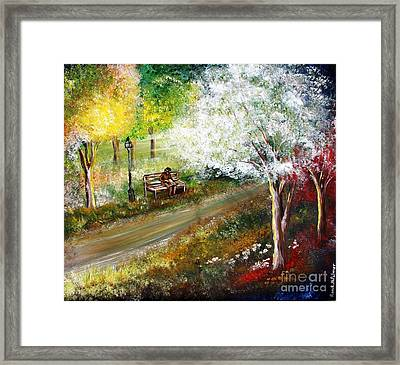 Relaxing In The Woods Framed Print by Roni Ruth Palmer