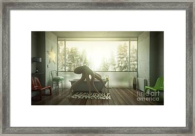 Relaxing Octopus...  Framed Print by Pixel Chimp